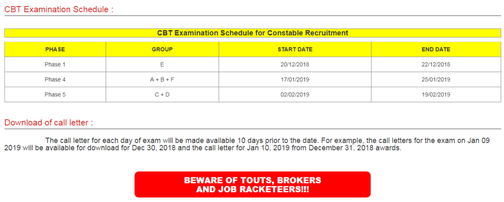 RPF Constable Exam Dates Image
